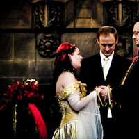 Ceremony, Flowers & Decor, red, black, gold, Handfasting