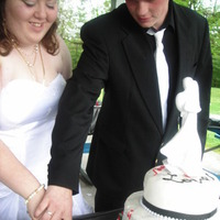 Reception, Flowers & Decor, Cakes, white, red, black, cake