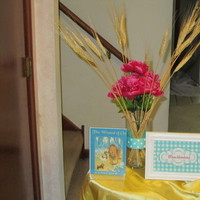 Reception, Flowers & Decor, yellow, pink, blue