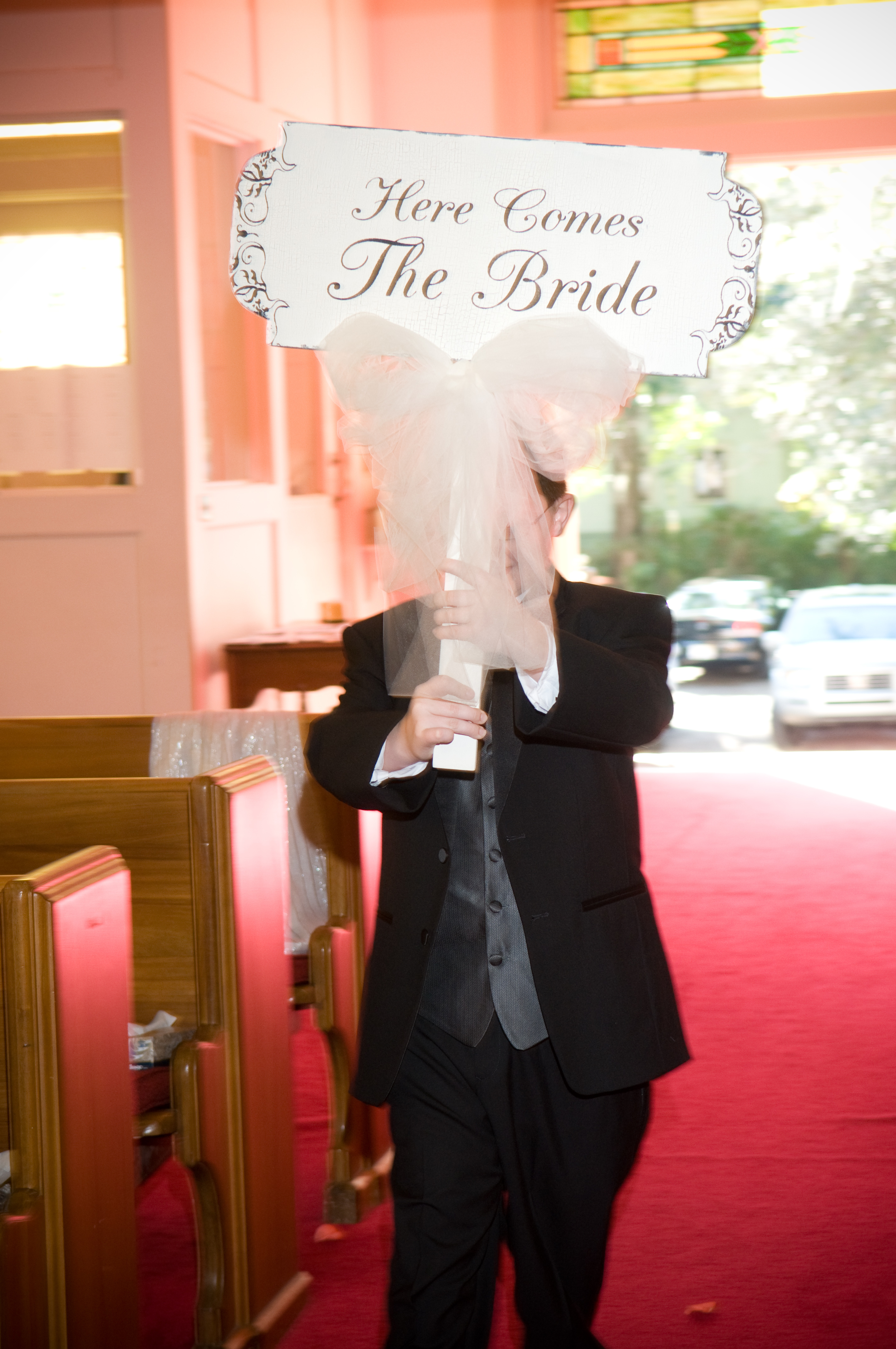 Ceremony, Flowers & Decor, Bride, The, Sign, Comes, Here