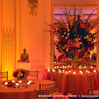 Reception, Flowers & Decor, yellow, orange, pink, red, gold, Lighting, Flowers