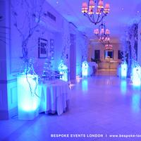 Reception, Flowers & Decor, white, blue, silver, Lighting, Flowers