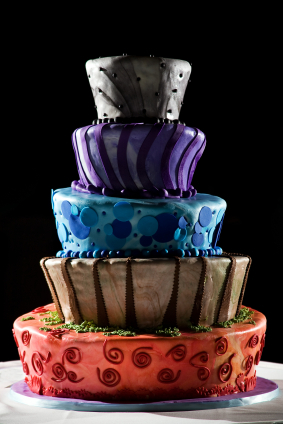 Cakes, yellow, orange, red, purple, blue, green, cake, Modern, Modern Wedding Cakes