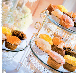Reception, Flowers & Decor, Cakes, yellow, pink, cake, Cupcakes