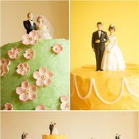 DIY, Reception, Flowers & Decor, Cakes, yellow, pink, green, cake, Retro