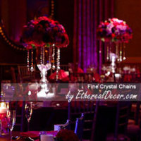 Reception, Flowers & Decor, pink, red, purple, Centerpieces, Flowers, Centerpiece, And, Hanging, With, Crystals