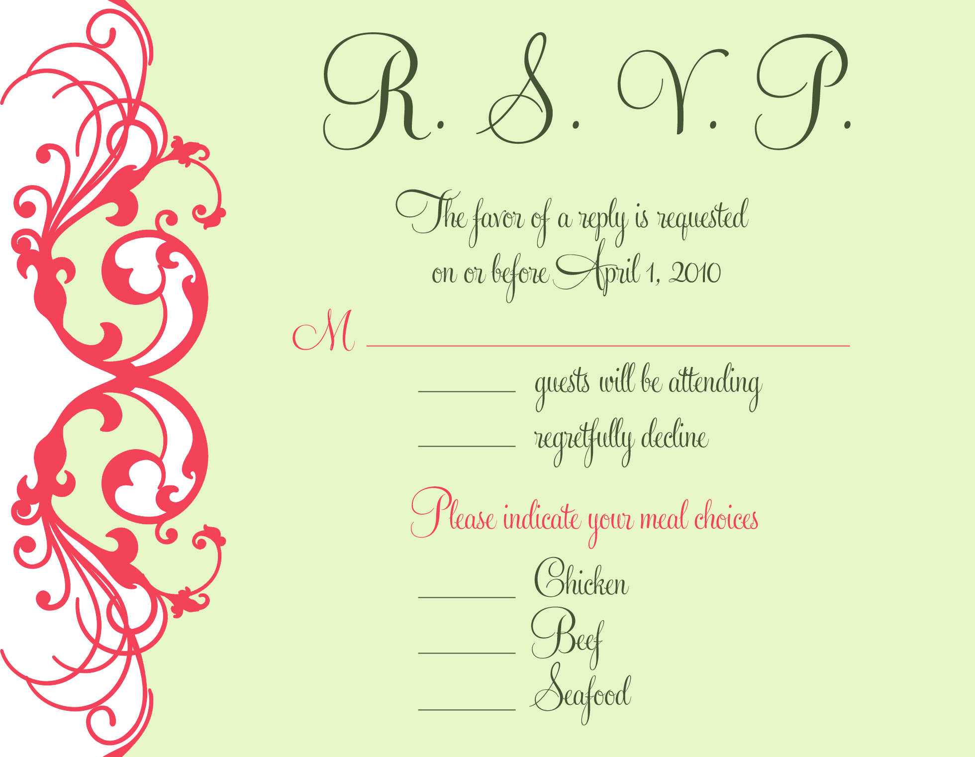 Stationery, white, orange, pink, green, Invitations, Cards, Wedding, Rsvp, Mango, Response