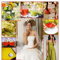 Beauty, Inspiration, Flowers & Decor, Jewelry, Bridesmaids, Bridesmaids Dresses, Wedding Dresses, Cakes, Fashion, yellow, red, green, cake, dress, Bridesmaid Bouquets, Flowers, Hair, Board, J crew, Fascinator, Watters brides, Chartreuse, Flower Wedding Dresses