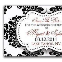 Stationery, white, red, black, Invitations, The, Save, Date