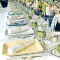 Reception, Flowers & Decor, white, yellow, blue, green, Table setting