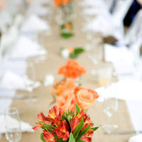 Reception, Flowers & Decor, yellow, orange, red, green, Flowers, Peonies, Jars, Bottle