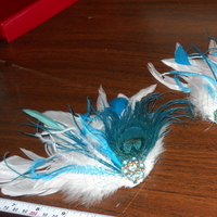 Beauty, Jewelry, Bridesmaids, Bridesmaids Dresses, Fashion, purple, blue, green, Feathers, Hair, Boutonniere, Peacock, Fascinator, Clip, Feather, Claytonandshauna, Feather Wedding Dresses