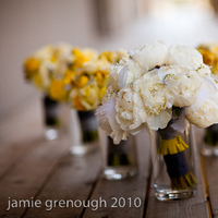 Beauty, Flowers & Decor, white, yellow, silver, Feathers, Flowers, Grey, Bridesmaid bouquet, Peony, Bride bouquet, Amy burke designs, Garden roses