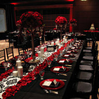 Reception, Flowers & Decor, white, red, Damask