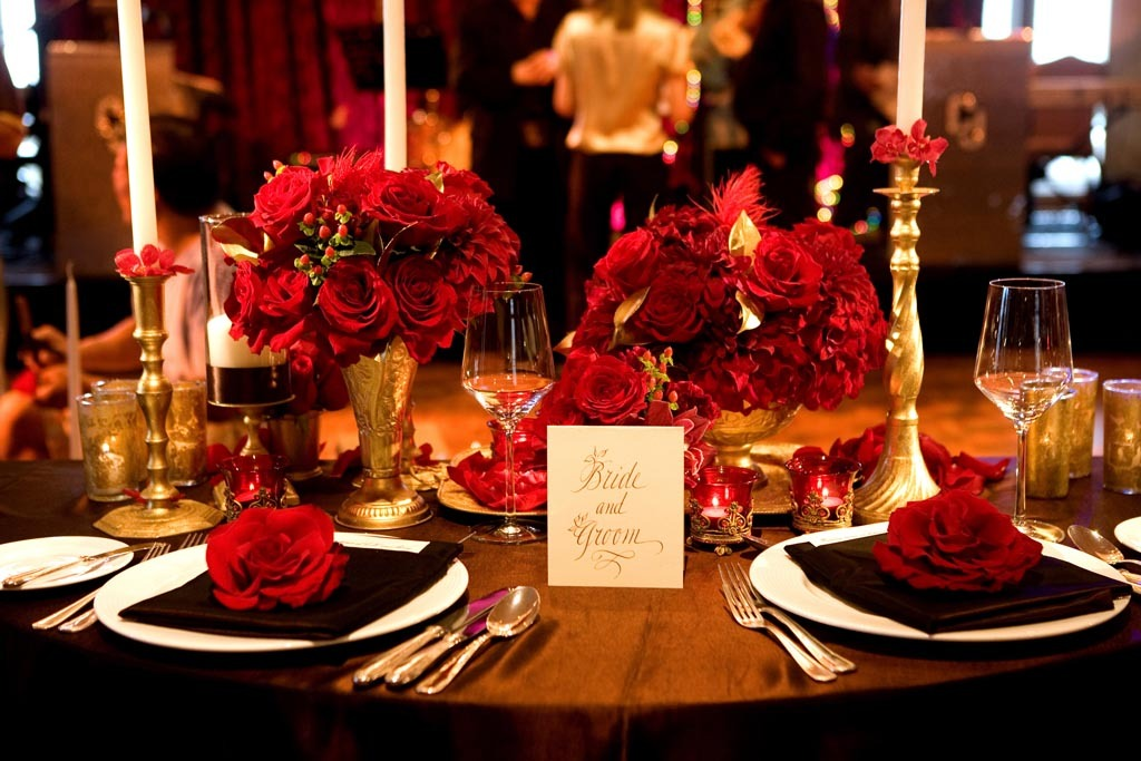 Reception, Flowers & Decor, red, gold