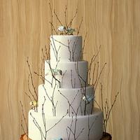 Ceremony, Inspiration, Flowers & Decor, Cakes, white, brown, cake, Rustic, Rustic Wedding Flowers & Decor, Branches, Board, Wedding cake, Wood, Lovebirdstree