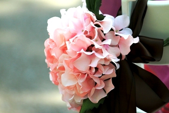 Ceremony, Inspiration, Flowers & Decor, Decor, pink, brown, Ceremony Flowers, Flowers, Board, Pew, Satin, With, Hydrangeas, Bow, Bows