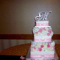 Flowers & Decor, Cakes, white, pink, silver, cake, Flowers, Wedding