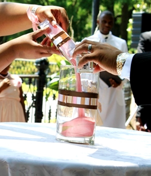 Ceremony, Inspiration, Flowers & Decor, pink, brown, gold, Board, Sand, Our