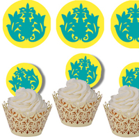 Reception, Flowers & Decor, Cakes, yellow, blue, cake, Cupcakes, Damask, Decorations
