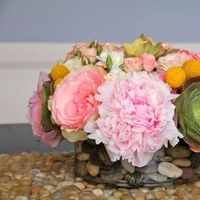 Reception, Flowers & Decor, white, yellow, pink, green, Centerpieces, Flowers, Roses, Centerpiece, Peonies, Succulents, Billy, Stock, Balls