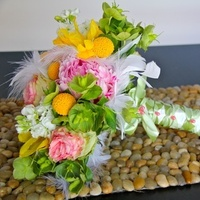 Ceremony, Flowers & Decor, white, yellow, pink, green, Ceremony Flowers, Flowers, Bride bouquet