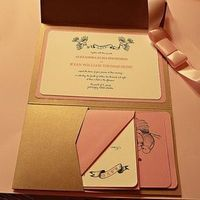 Stationery, orange, pink, gold, Invitations