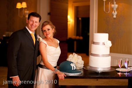 Cakes, white, cake, Grey, Cake cutting, Grooms cake, Wedding cake, Yankees, Pinkies bakery