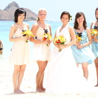 Ceremony, Flowers & Decor, Bridesmaids, Bridesmaids Dresses, Wedding Dresses, Destinations, Fashion, yellow, red, blue, dress, Destination Weddings, Hawaii, Ceremony Flowers, Bridesmaid Bouquets, Flowers, Destination wedding, Flower Wedding Dresses
