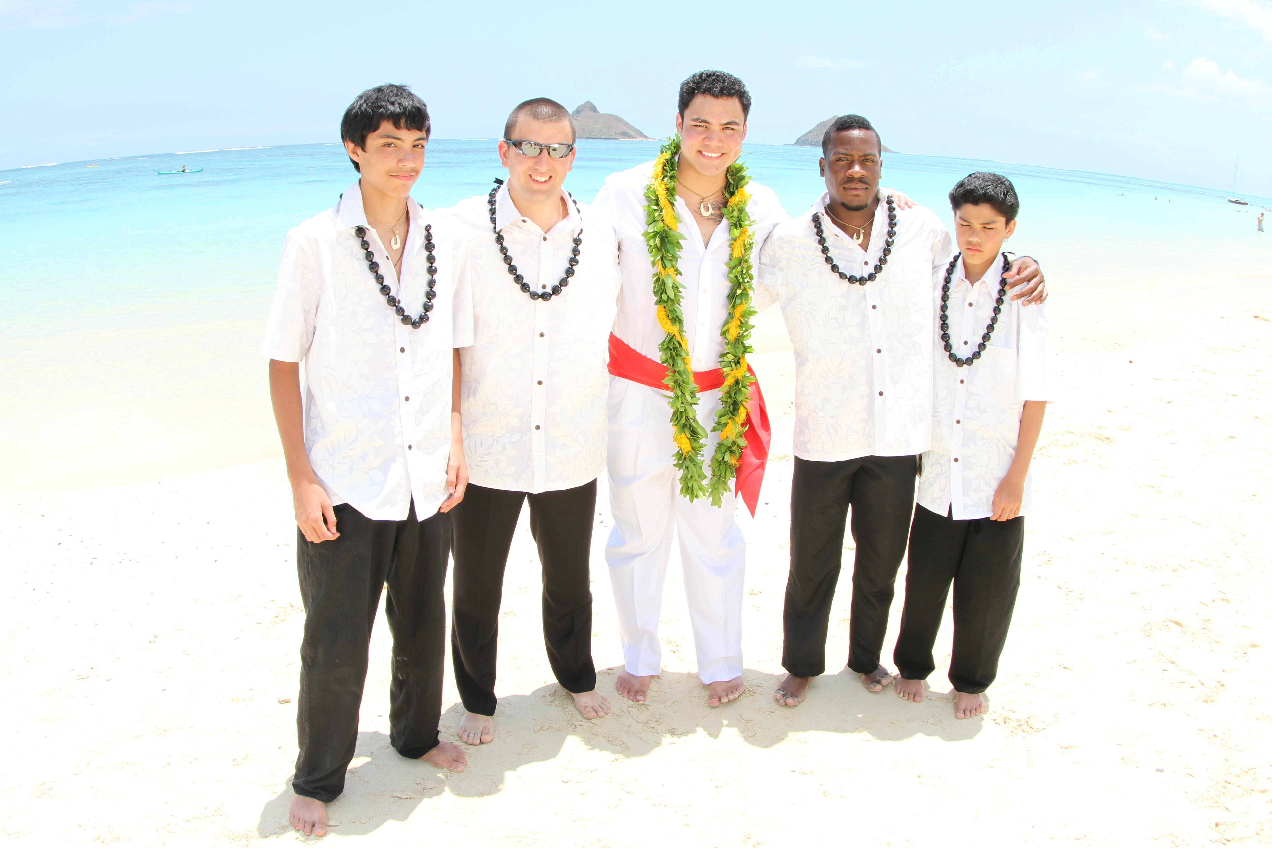 Ceremony, Flowers & Decor, Destinations, yellow, red, Destination Weddings, Hawaii, Groomsmen, Destination wedding