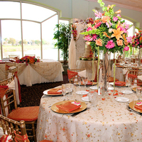 Reception, Flowers & Decor, orange, pink, Tablescape