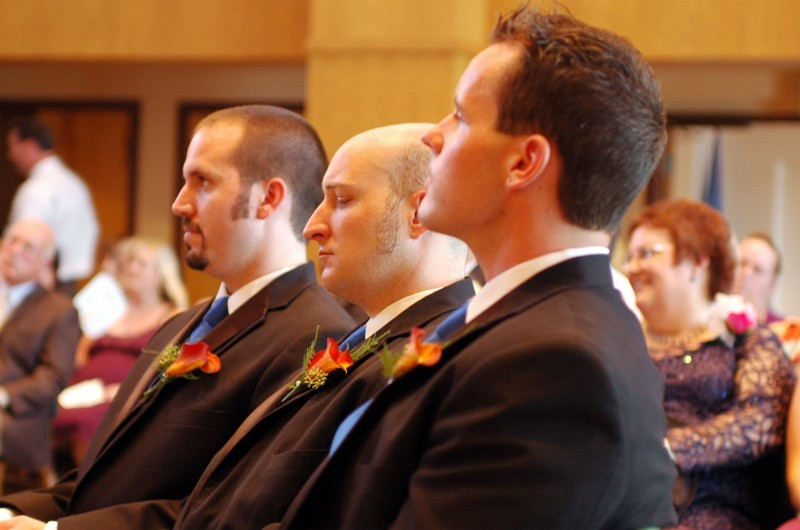 Ceremony, Flowers & Decor, orange, blue, Groomsmen
