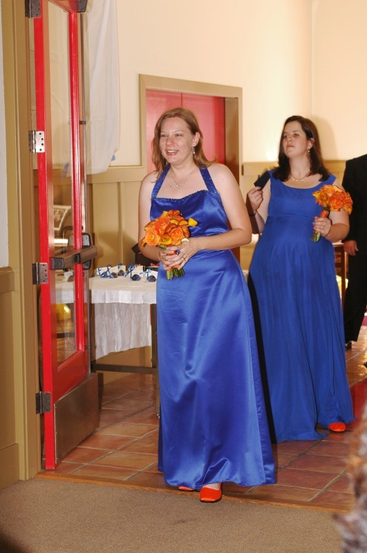 Reception, Flowers & Decor, Bridesmaids, Bridesmaids Dresses, Shoes, Fashion, orange, blue