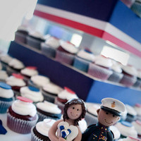 Reception, Flowers & Decor, Cakes, white, red, blue, cake, Cake Toppers, Topper, Marine, Corps