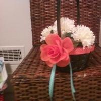 Flowers & Decor, orange, blue, black, Flowers, Flower, Girl, Rose, Tiffany, Basket, Ribbon, Aqua