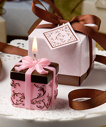 Reception, Flowers & Decor, Favors & Gifts, pink, brown, Favors, Candles, Gifts, Wedding