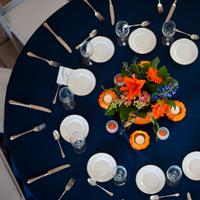 Reception, Flowers & Decor, orange, blue