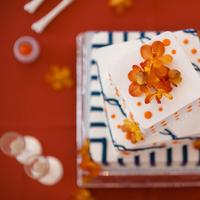 Cakes, white, orange, blue, cake