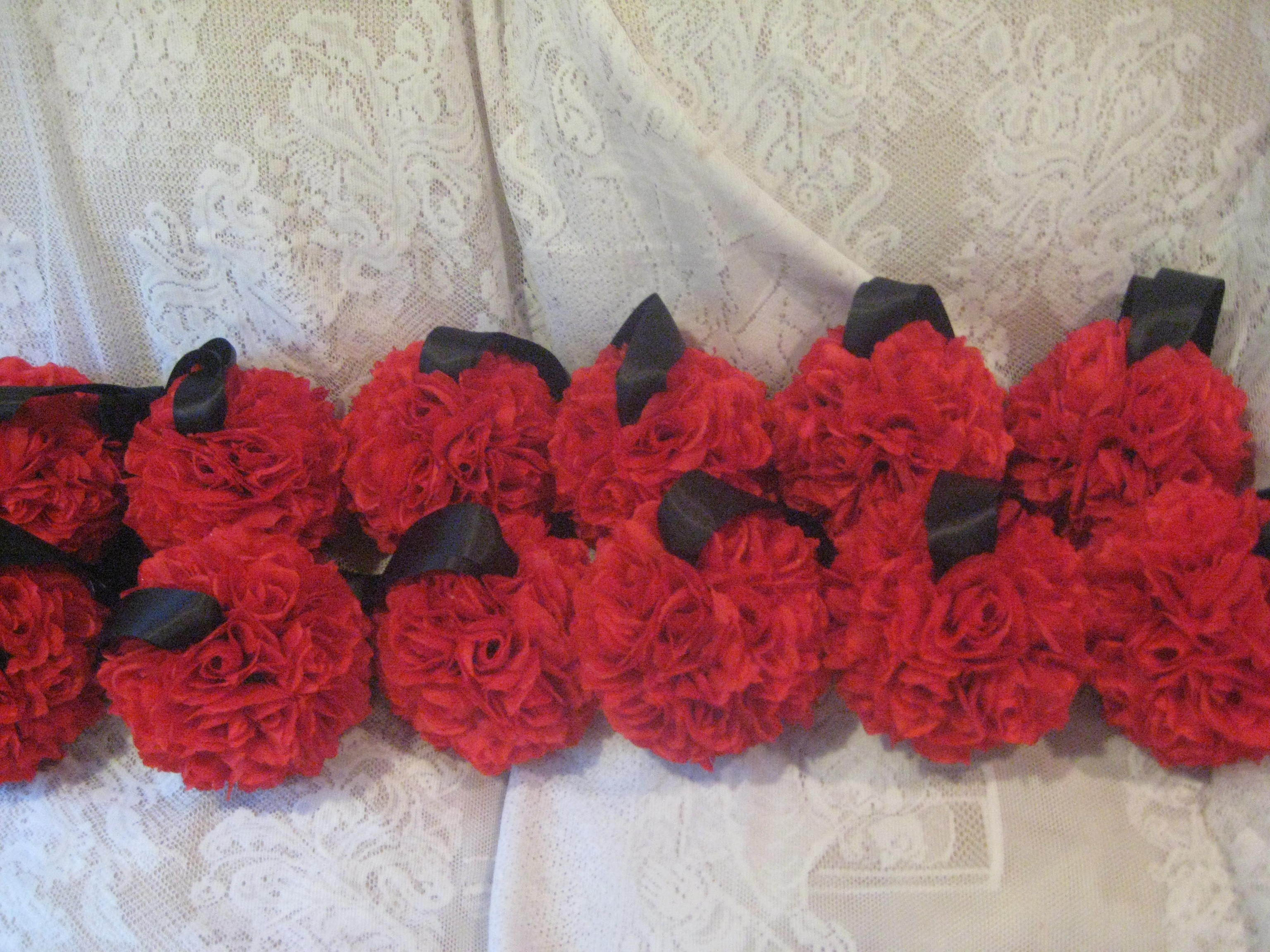 Ceremony, Reception, Flowers & Decor, Decor, Bridesmaids, Bridesmaids Dresses, Fashion, red, purple, black, gold, Ceremony Flowers, Aisle Decor, Bride Bouquets, Bridesmaid Bouquets, Flowers, Bouquet, Girl, Bridesmaid, Aisle, Kissing, Pomanders, Balls, Flower Wedding Dresses