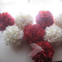Ceremony, Reception, Flowers & Decor, Decor, Bridesmaids, Bridesmaids Dresses, Fashion, red, purple, gold, Ceremony Flowers, Aisle Decor, Bride Bouquets, Bridesmaid Bouquets, Flowers, Bouquet, Girl, Bridesmaid, Aisle, Kissing, Pomanders, Balls, Flower Wedding Dresses