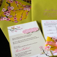 Stationery, pink, green, Invitations, Bridal Shower, Cherry blossom, Garden party, Tea party