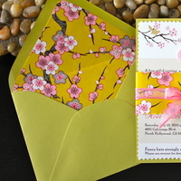 Stationery, pink, green, Invitations, Bridal Shower, Cherry blossoms