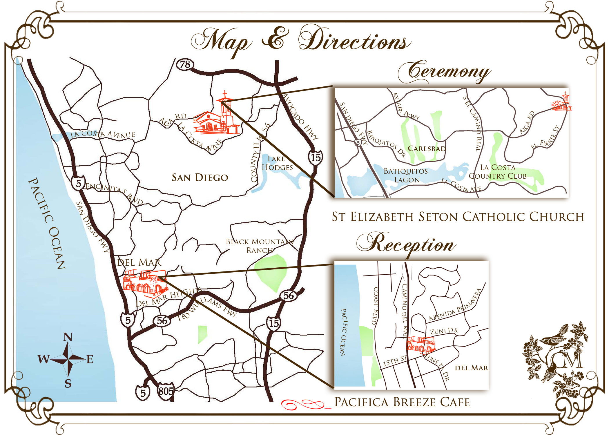 Ceremony, Reception, Flowers & Decor, white, orange, blue, brown, Map, Pearl, Wedding invitations, Driving directions