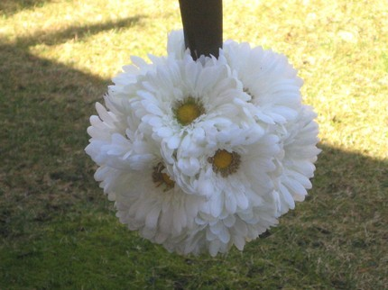 Ceremony, Reception, Flowers & Decor, Bridesmaids, Bridesmaids Dresses, Fashion, white, yellow, Ceremony Flowers, Bridesmaid Bouquets, Summer, Flowers, Daisy, Weddings, Kissing, Pomanders, Gerbera, Balls, Flower Wedding Dresses, Summer Wedding Dresses
