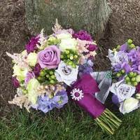 Flowers & Decor, Bridesmaids, Bridesmaids Dresses, Fashion, purple, green, Bride Bouquets, Bridesmaid Bouquets, Flowers, Bouquet, Brides, Flower Wedding Dresses