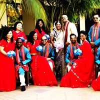 Ceremony, Flowers & Decor, Bridesmaids, Bridesmaids Dresses, Fashion, red, blue, Ceremony Flowers, Bridesmaid Bouquets, Flowers, Flower Wedding Dresses