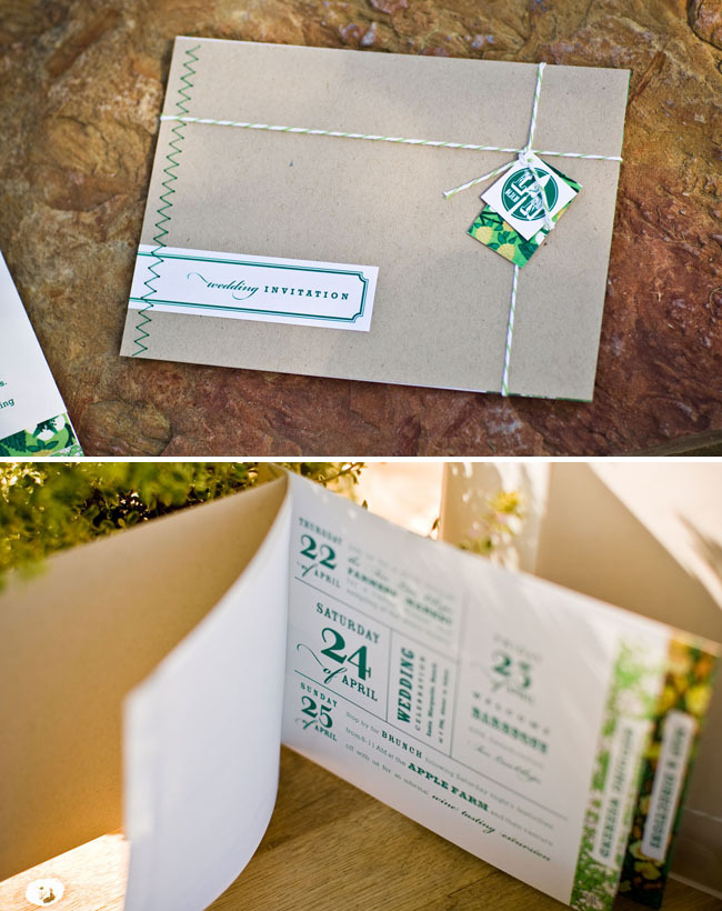 Stationery, white, green, brown, Invitations