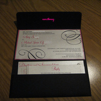 Stationery, pink, black, Invitations, Pocketfold