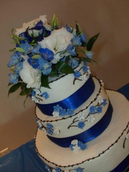 Reception, Flowers & Decor, Cakes, white, blue, cake, Ideas