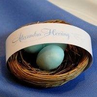 Reception, Flowers & Decor, Favors & Gifts, blue, brown, favor, Party, Birds, Nest, Card, Place